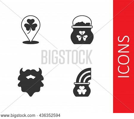 Set Pot Of Gold With Rainbow, Clover Trefoil Leaf, Mustache And Beard And Coins Icon. Vector