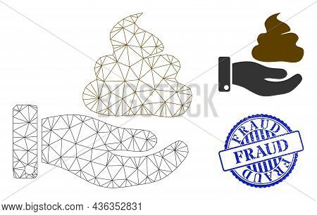 Web Mesh Hand Give Shit Vector Icon, And Blue Round Fraud Grunge Stamp. Fraud Stamp Uses Round Form