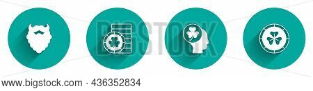 Set Mustache And Beard, Golden Leprechaun Coin, Head With Clover Trefoil Leaf And Icon With Long Sha