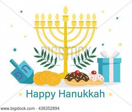 Hanukkah Greeting Card. Jewish Holiday. Menorah, Star Of David, Gift Box, Money, Donuts. Vector Illu