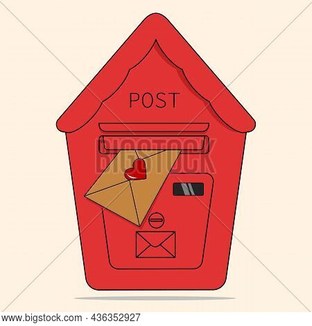 Red Mailbox With A Letter. Mailbox Vector Love Letter Vector. Love Letter In The Mailbox.