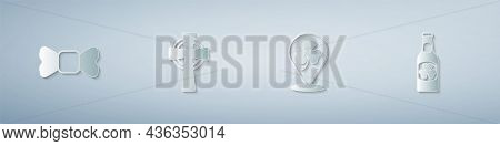Set Bow Tie, Celtic Cross, Clover Trefoil Leaf And Beer Bottle With Clover. Paper Art Style. Vector
