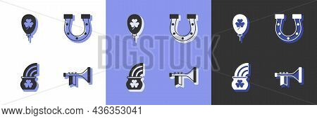 Set Trumpet, Balloon With Clover Trefoil Leaf, Pot Of Gold Rainbow And Horseshoe Icon. Vector