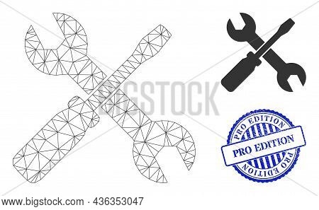 Web Carcass Screwdriver And Wrench Vector Icon, And Blue Round Pro Edition Dirty Watermark. Pro Edit