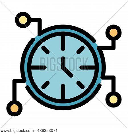 Digital Alarm Clock Icon. Outline Digital Alarm Clock Vector Icon Color Flat Isolated