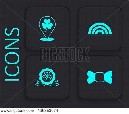 Set Bow Tie, Clover Trefoil Leaf, Rainbow And Medal With Clover Icon. Black Square Button. Vector