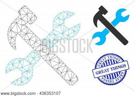 Web Carcass Wrench And Hammer Vector Icon, And Blue Round Great Things Rough Stamp. Great Things Sta