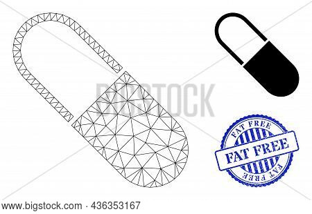 Web Carcass Medical Capsule Vector Icon, And Blue Round Fat Free Grunge Stamp Imitation. Fat Free St