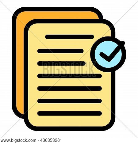 Approved Files Icon. Outline Approved Files Vector Icon Color Flat Isolated