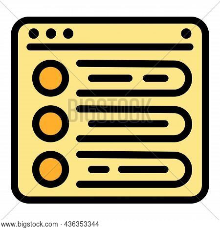 Electronic Form Icon. Outline Electronic Form Vector Icon Thin Line Color Flat On White