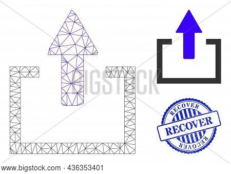 Web Carcass Upload Vector Icon, And Blue Round Recover Dirty Stamp Print. Recover Stamp Seal Uses Ro