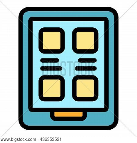 Online Library Icon. Outline Online Library Vector Icon Color Flat Isolated