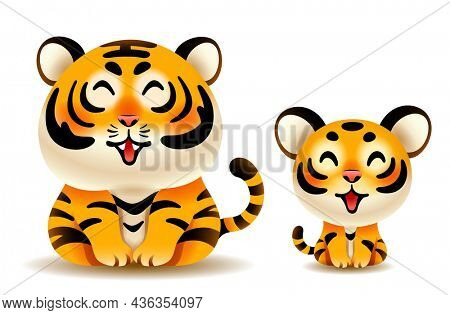 Cute tiger and tiger cub isolated on white background.