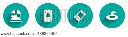 Set Magic Ball, Playing Cards, Circus Ticket And Witch Hat Icon With Long Shadow. Vector