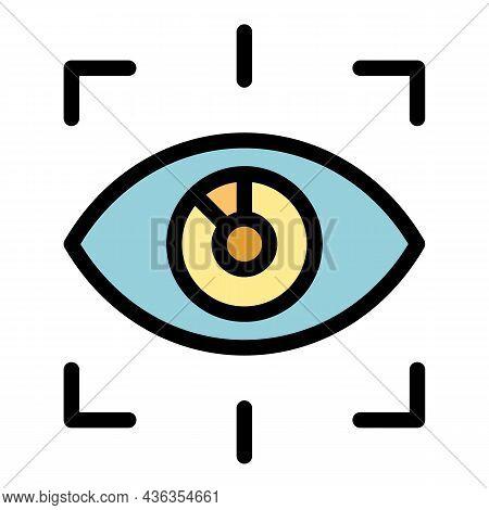 Eye Unlock Icon. Outline Eye Unlock Vector Icon Color Flat Isolated