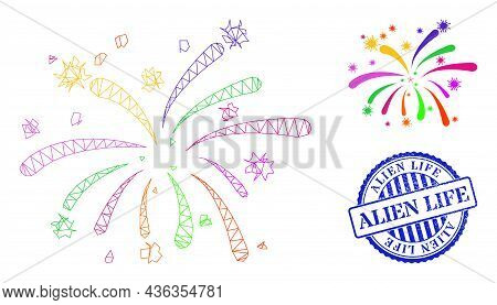 Web Network Viral Fireworks Vector Icon, And Blue Round Alien Life Scratched Badge. Alien Life Stamp