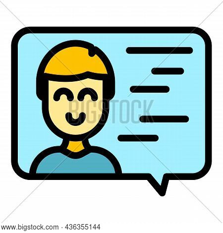 Assistance Chat Icon. Outline Assistance Chat Vector Icon Color Flat Isolated