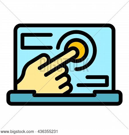 Touch Assistance Icon. Outline Touch Assistance Vector Icon Color Flat Isolated