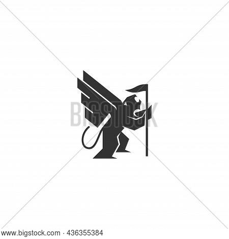 Lion Wing Flag Template Illustration Emblem Mascot Isolated