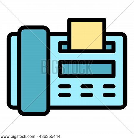 Fax Assistance Icon. Outline Fax Assistance Vector Icon Color Flat Isolated