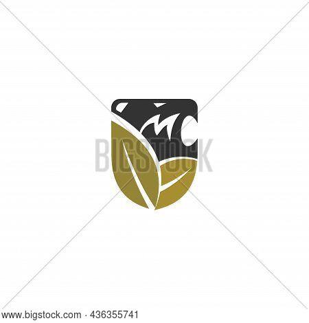 Lion Leaf Shield Template Illustration  Mascot Emblem Isolated
