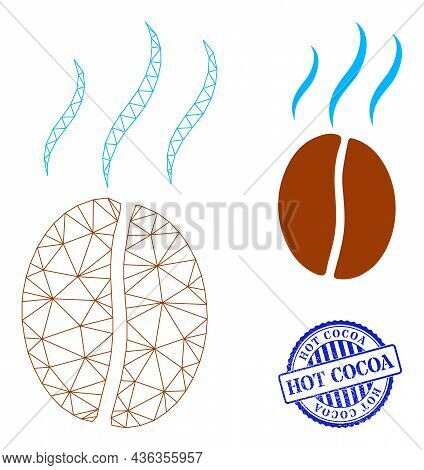 Web Network Smell Coffee Bean Vector Icon, And Blue Round Hot Cocoa Rough Badge. Hot Cocoa Seal Uses