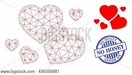Web Net Romantic Hearts Vector Icon, And Blue Round No Honey Rough Stamp. No Honey Stamp Uses Round