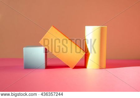 Minimalistic Abstract Background With Three-dimensional Geometric Shapes. Podiums For Goods.
