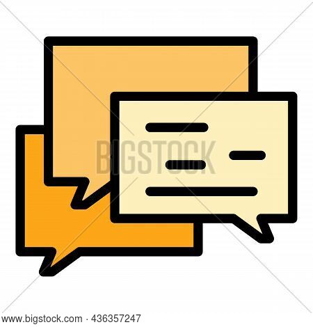 Help Support Chat Icon. Outline Help Support Chat Vector Icon Color Flat Isolated