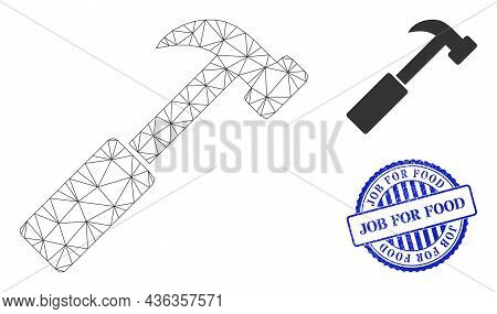 Web Network Hammer Vector Icon, And Blue Round Job For Food Grunge Stamp Seal. Job For Food Stamp Se