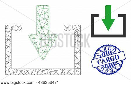 Web Carcass Download Vector Icon, And Blue Round Cargo Scratched Stamp Imitation. Cargo Stamp Seal U