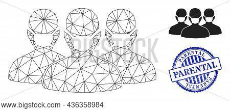 Web Net Mask People Group Vector Icon, And Blue Round Parental Grunge Stamp Print. Parental Stamp Se
