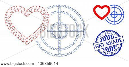 Web Carcass Romantic Heart Target Vector Icon, And Blue Round Get Ready Dirty Stamp Seal. Get Ready