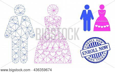 Web Carcass Marriage Couple Vector Icon, And Blue Round Enroll Now Rubber Stamp. Enroll Now Seal Use