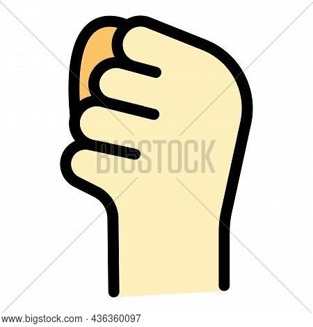 Hand Gesture Revolution Icon. Outline Hand Gesture Revolution Vector Icon Color Flat Isolated