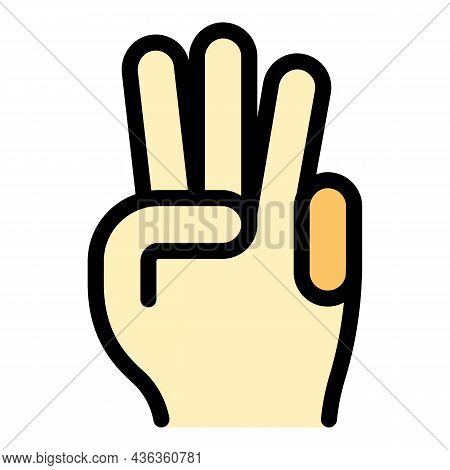Hand Gesture Three Minutes Icon. Outline Hand Gesture Three Minutes Vector Icon Color Flat Isolated