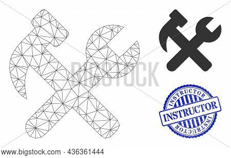 Web Net Hammer And Wrench Vector Icon, And Blue Round Instructor Unclean Seal. Instructor Seal Uses