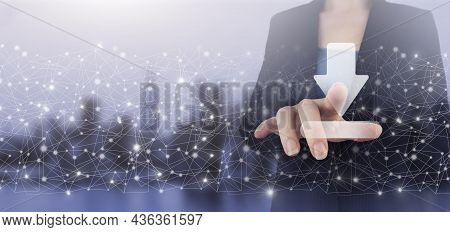 Download Data Storage Business Technology Network Concept. Hand Touch Digital Screen Hologram Downlo