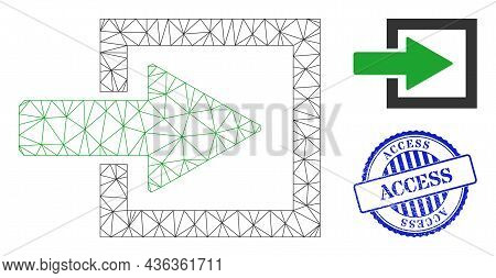 Web Carcass Import Arrow Vector Icon, And Blue Round Access Rough Watermark. Access Stamp Uses Round
