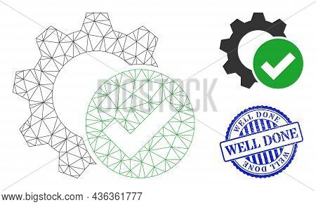 Web Net Apply Settings Gear Vector Icon, And Blue Round Well Done Textured Watermark. Well Done Wate