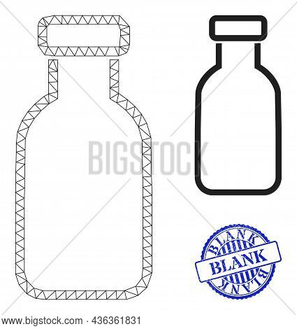 Web Mesh Empty Vial Vector Icon, And Blue Round Blank Dirty Badge. Blank Stamp Seal Uses Round Form