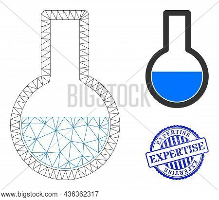 Web Carcass Flask Vector Icon, And Blue Round Expertise Textured Stamp Print. Expertise Stamp Uses R