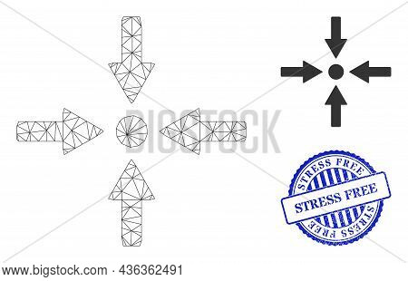 Web Net Meeting Point Vector Icon, And Blue Round Stress Free Grunge Seal. Stress Free Watermark Use