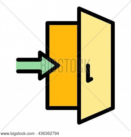 Enter Door Interface Icon. Outline Enter Door Interface Vector Icon Color Flat Isolated