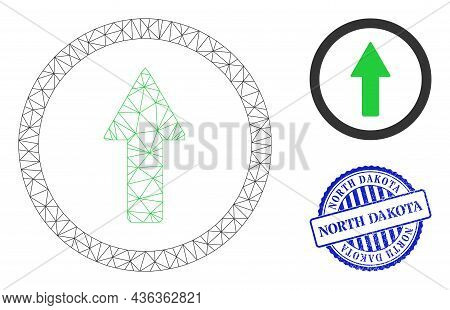 Web Mesh Rounded Up Arrow Vector Icon, And Blue Round North Dakota Rubber Stamp Seal. North Dakota W