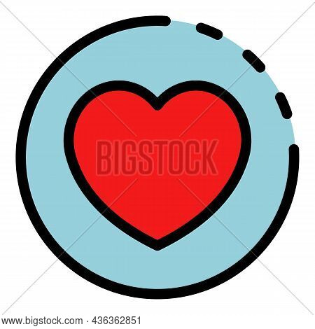 Heart Like Interface Icon. Outline Heart Like Interface Vector Icon Color Flat Isolated