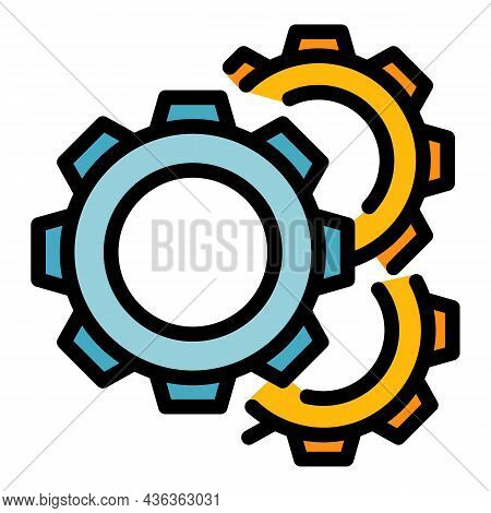 Gear Wheel Interface Icon. Outline Gear Wheel Interface Vector Icon Color Flat Isolated