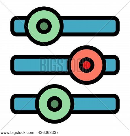 Metal Buttons Interface Icon. Outline Metal Buttons Interface Vector Icon Color Flat Isolated