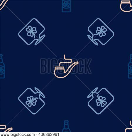 Set Line Beer Bottle With Clover, Clover Trefoil Leaf And Smoking Pipe On Seamless Pattern. Vector