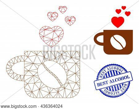 Web Mesh Lovely Coffee Cup Vector Icon, And Blue Round Best Alcohol Rough Watermark. Best Alcohol Im